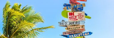 A signpost with lots of different cities against a blue sky with a palm tree.