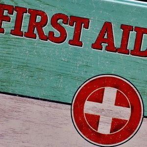 Close up of retro style First Aid Case