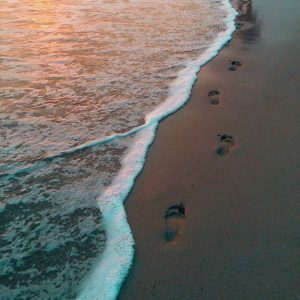 Footprints in the sand by the ocean at sunset.