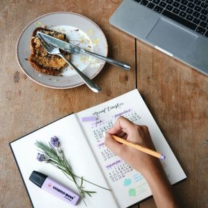 "A diary with the heading ""mood tracker"" and a persons hand writing. There is a sprig of lavendar and a purple highlighter resting on the book, and a plate with half eaten cake."