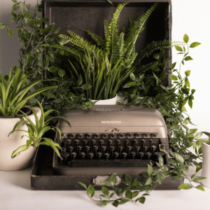Image of an old fashioned Remington typewriter surrounded by lush green potplants.