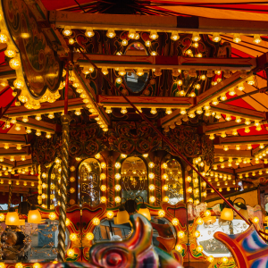 A carousel with all the lights on.