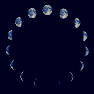 Image depicts the phases of the moon.