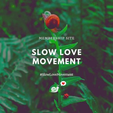 "Image of a snail and a ladybug on a fern frond. There is text that says ""Membership Site. Slow Love Movement. #TheSlowLoveMovement"" and a small logo of a snail with a speech bubble that has a loveheart in it."