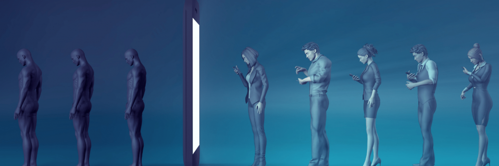 Image shows a line of people looking at their phones and walking into a doorway made from a large phone. On the other side they are like blank human templates.