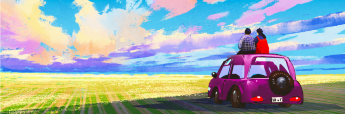 Painting of couple who are best friends sitting on the roof of a car watching the sunset